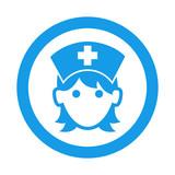 Icono redondo enfermera azul