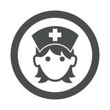 Icono redondo enfermera gris