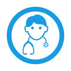 Icono redondo doctor azul