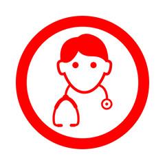 Icono redondo doctor rojo