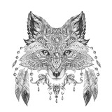 Tattoo, portrait of a wild fox - 82314187
