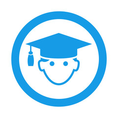 Icono redondo licenciado azul