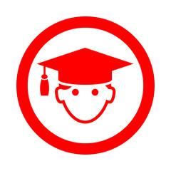 Icono redondo licenciado rojo