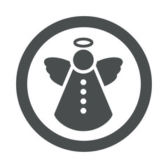 Icono redondo angel de navidad gris