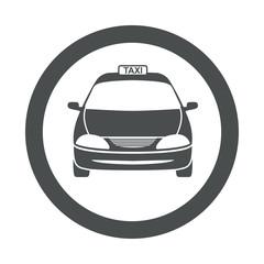 Icono redondo taxi gris
