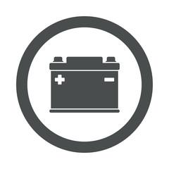 Icono redondo bateria electrica gris