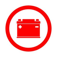 Icono redondo bateria electrica rojo