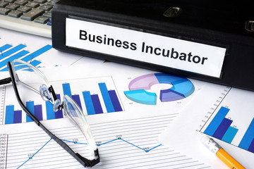 File folder with words Business Incubator and financial graphs.