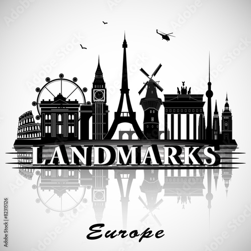 Landmarks Vector European Landmarks Set Vector