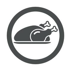 Icono redondo pollo asado gris.