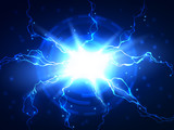 Abstract blue lightning vector science background - 82316572