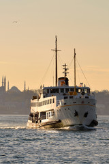 A ferry sails into the Bosphorus Sea, Istanbul, Turkey