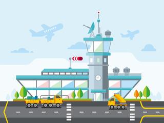 Airport Modern Flat Design Vector Illustration