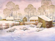 Leinwanddruck Bild - Watercolor landscape of old winter village