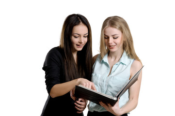 Two young women with a folder in hands