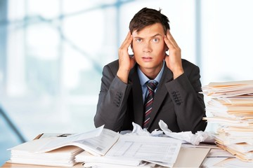 Emotional Stress. Frustrated office manager overloaded with work