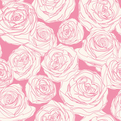 Vector pattern with pink roses