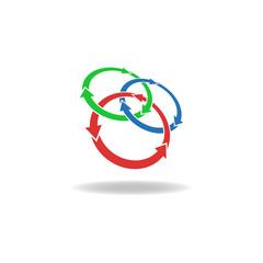 Three circles arrows, loop logo, cycles, nature elements