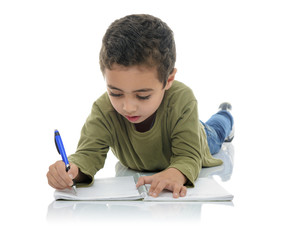 Cute Young Schoolboy Writing