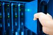 Leinwanddruck Bild - People fix server network in data room