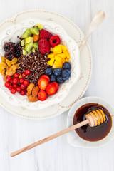 Black  quinoa with berries  for breakfast