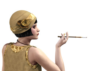 Flapper Lady in Profile
