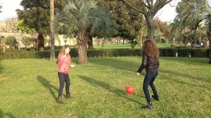 Ragazze giocano a pallavolo nel parco