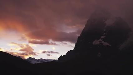WS PAN Dramatic sky at sunset above Alps / Murren, Switzerland