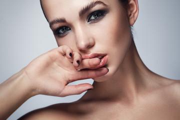 Beautiful woman with stylish makeup