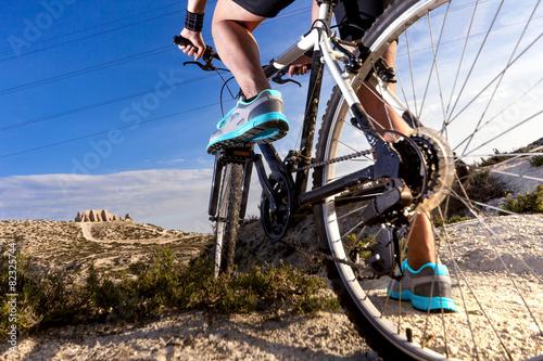 Deportes. Bicicleta de montaña y hombre.Deporte en exterior poster
