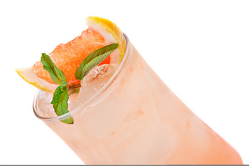 Cocktail with ice garnished slice of grapefruit