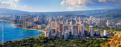 Foto op Canvas Verenigde Staten Spectacular view of Honolulu city, Oahu