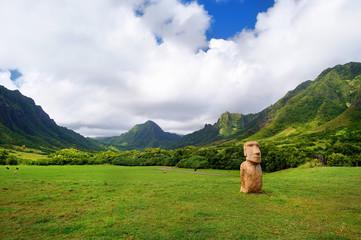Easter island head on Kualoa Ranch, Oahu