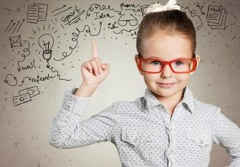 Boy. Genius boy in red glasses near blackboard with formulas