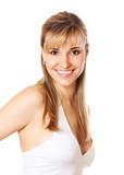 Blond  beautifu woman with healthy teeth