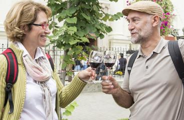 Senior couple tasting wine