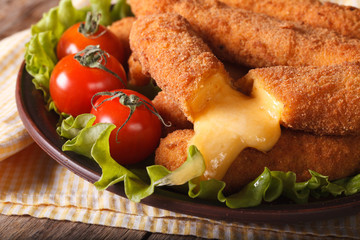 Tasty fried cheese close-up and fresh vegetables
