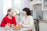 mature women talking at   kitchen
