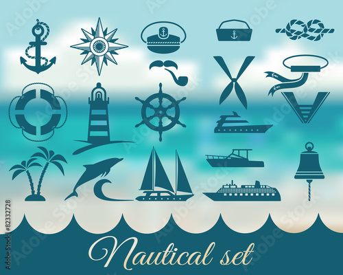 nautical marine icons set - 82332728