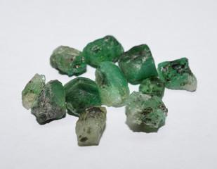 Emerald rough gemstones