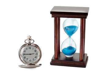 pocket watch and hourglass