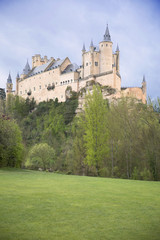 View of Castle Alcazar of Segovia in Castille and Leon, Spain