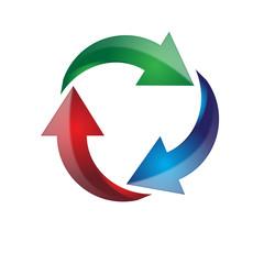 simbolo di tre frecce verde, rosso, blu