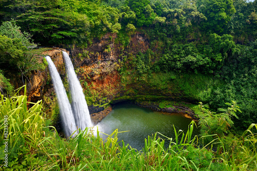 Tuinposter Luchtfoto Majestic twin Wailua waterfalls on Kauai