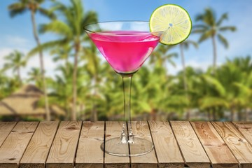 Cocktail. Classic Cosmopolitan Drink with Lime Decoration -