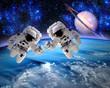 Leinwandbild Motiv Astronaut Spaceman Team Work