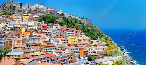 Colorful houses and a castle of Castelsardo town