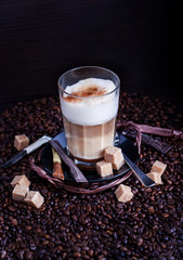 Fresh hot tasty latte macchiato coffee