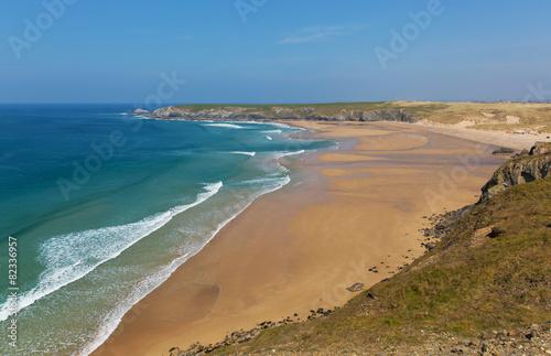Leinwandbild Motiv Holywell Bay coast Cornwall England UK near Newquay