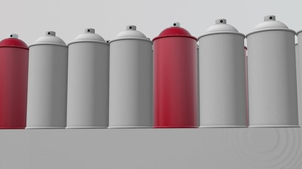 Abstract color spray cans in red and white in rows